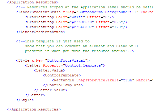 XML comment XAML file