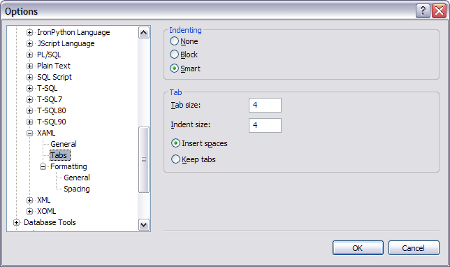 Visual Studio 'XAML / Tabs' options