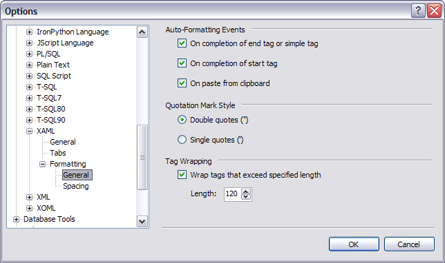 Visual Studio 'XAML / Formatting / General' options