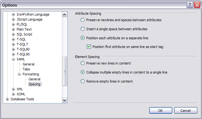 Visual Studio 'XAML / Formatting / Spacing' options