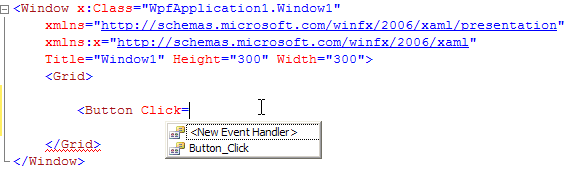 Adding an event handler from XAML editor