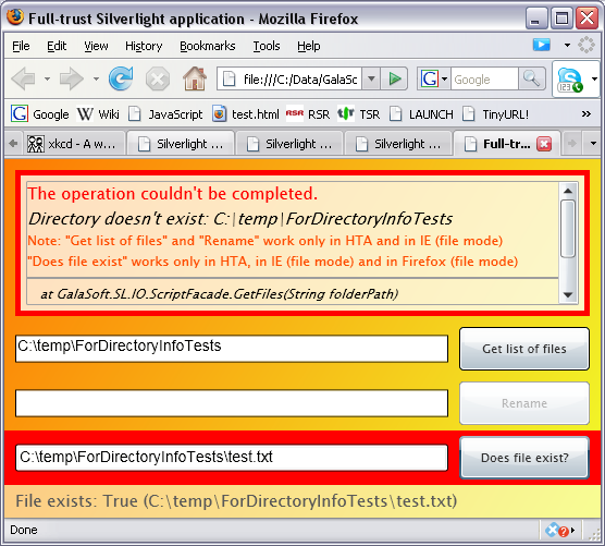 Silverlight application in Firefox